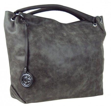 Velká kabelka do ruky z broušené kůže TH2009 šedá - Kliknutím zobrazíte detail obrázku.