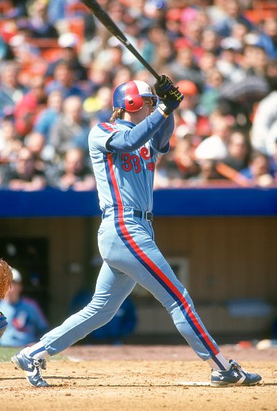Larry Walker of the Montreal Expos bats against the New York Mets during an Major League Baseball game circa 1990 at Shea Stadium in the Queens...