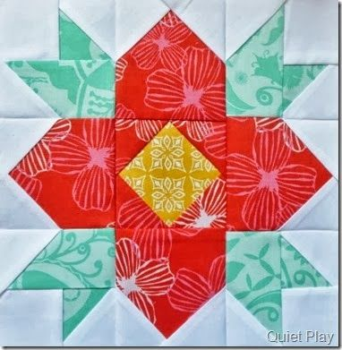 """Super cute """"Blossom"""" block by Kristy Lea of Quiet Play. Kristy's pattern available here: http://www.craftsy.com/pattern/quilting/other/blossom-paper-pieced-pattern/73686"""
