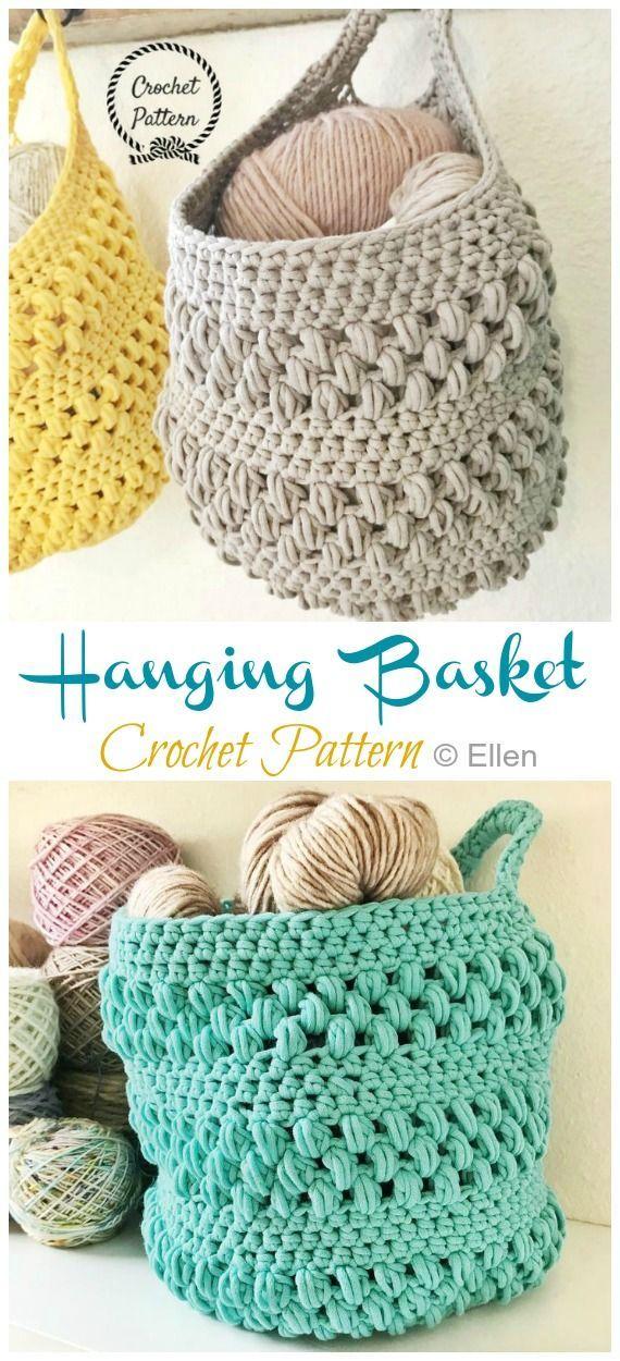 Hängender Sack Korb häkeln kostenlose Muster   – Crocheting – #Crocheting #Hä…