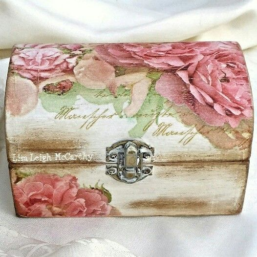 Decoupage Jewellery Box, Shabby Elegance, Make Up Box, Cottage Chic, Bedroom Box, Vintage, Parisian, Victorian, Wood Storage Box, Keepsake by ArtelisaGiftBoutique on Etsy