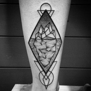 This geometric iceberg.   26 Stunning Tattoos For Nature Lovers--Possibly a tribute tattoo for my love of psychology?