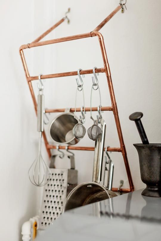 Copper Pipe Kitchen Utensil Racks Kitchen Inspiration. K would love this: Pots Racks, Kitchen Utensils, Ideas, Kitchens Design, Interiors, Copper Pipes, Towels Racks, Kitchens Utensils, Utensils Racks