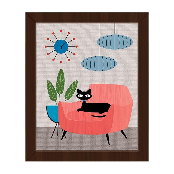 Horizon Retro Cat & Clock Mod Framed Canvas Wall Art Print