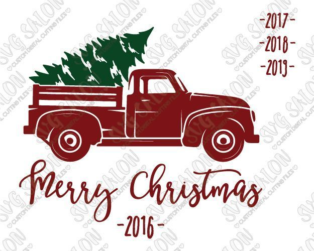 Merry Christmas Vintage Red Truck Svg Cut File Set Free