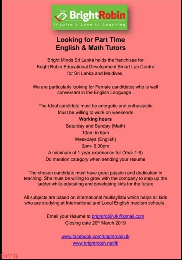 Vacancies For Part Time English And Maths Tutors ද හ වල