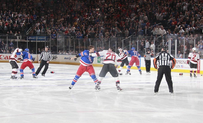 3 fights, 3 seconds into the game.....way to start the game Rangers!!!!