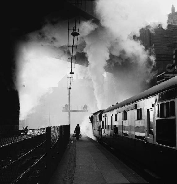 Bert Hardy. A train begins its journey from Lime Street Railway Station in Liverpool, 1954