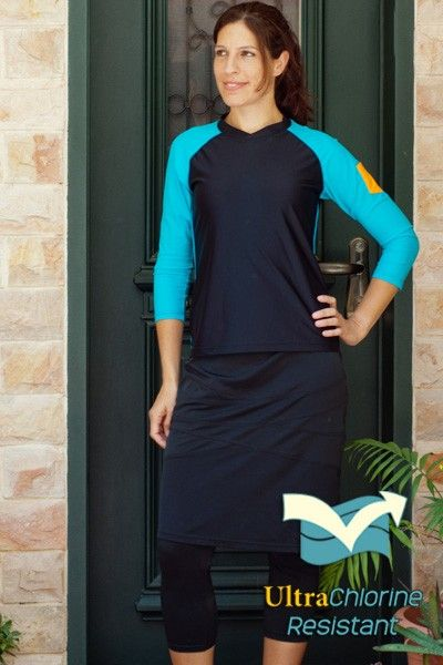 d8eea2d2d9 Extra long swim skirt with leggings, $81. Great for swim or gym. |  HydroChic 2013 Collection | Swim skirt, Skirts, Sports skirts