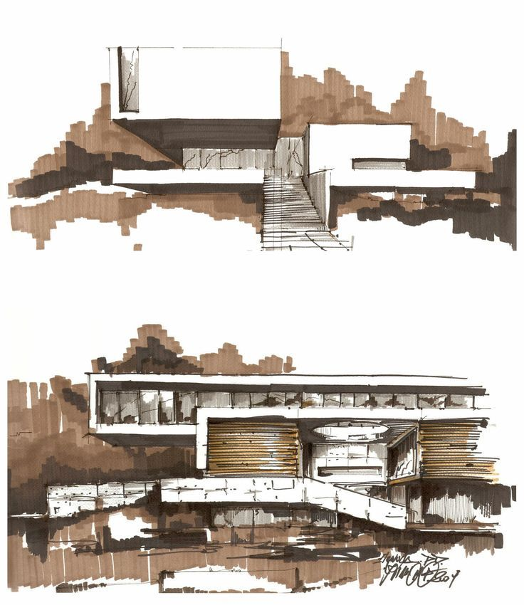 In this double-view architectural rendering, brown marker is used to construct positive and negative spaces of the building. The selective use of markers effectively show materiality and light quality on its surfaces.