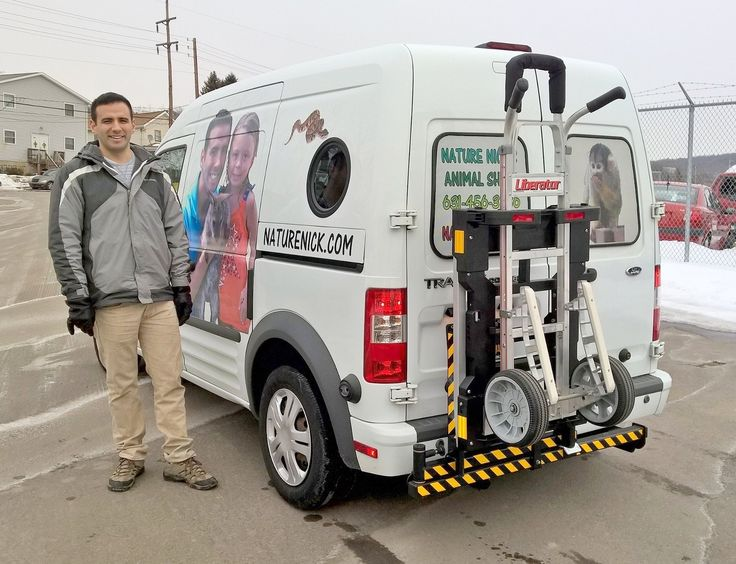 Nick Jacinto of Nature Nick's Animal Adventures of Long Island, NY visits HTS Systems in Scranton, Pennsylvania. Ford Transit mini cargo van equipped with HTS Systems' Hand Truck Sentry System.
