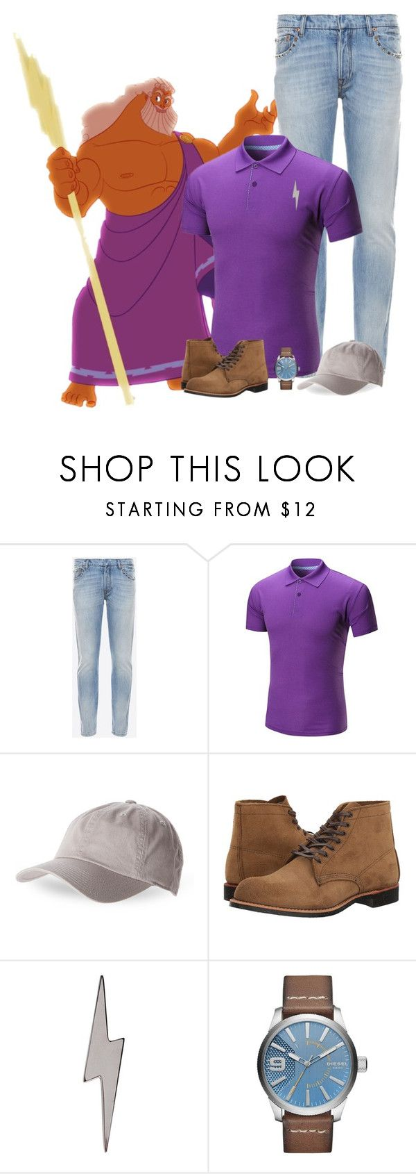 """Disney Parents: Zeus"" by casualchica on Polyvore featuring Valentino, American Needle, Red Wing, Edge Only, Diesel, contest, disney, contestentry, disneycharacter and casualchica"