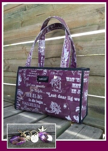 Https://facebook.com/oehleyhandbagsgift - purple christian wording handbag.