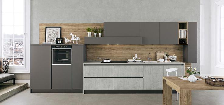Cucina Moderna - Kalì Finitura cementho e maxximatt lavagna  Piano in lamina...