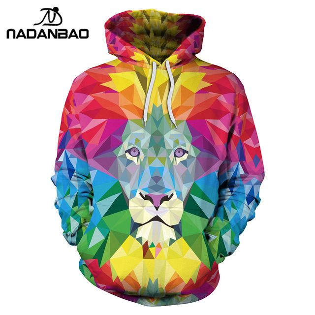 NADANBAO New Style Hiphop Hoodies Colorful Animal Lion 3D Printing Cool Fashion Women Hooded Sweatshirt Coats Casual Sportswear #Brand #nadanbao #sweaters #women_clothing #stylish_dresses #style #fashion