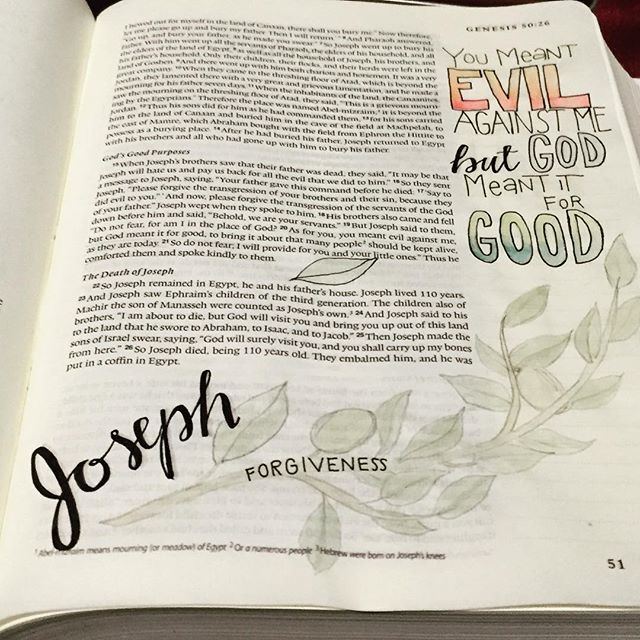 """""""You meant Evil against me but God meant it for Good"""". Joseph's story. The #forgiveness story is #amazing #vscogood #biblejournalingcommunity #biblejournaling #illustratedfaith #adventillustrated"""