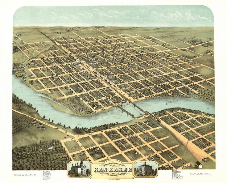 Bird's eye view of the city of Kankakee, Kankakee County, Illinois. Looking north east. Drawn by Prof. A. Ruger. 1869 Year: 1869 City: Kankakee County: Kankakee State: Illinois Country: United States