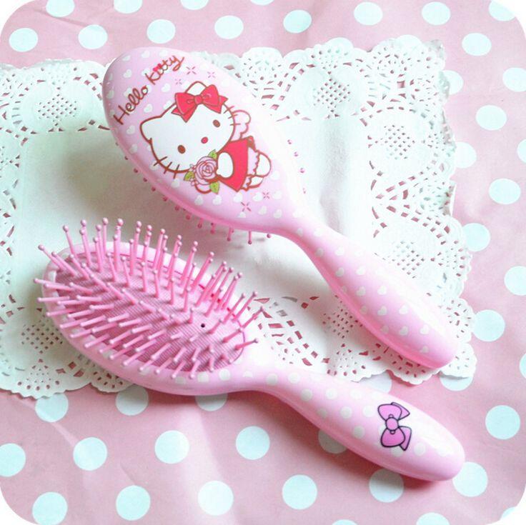 1Pcs New Kawaii Hello Kitty Anti-static Hair Cosmetic Makeup Curl Straight Massage Comb Brush Beauty Mirror Styling Tool A0461