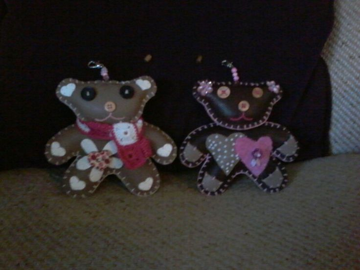 Handmade leather teddybear - perfect for babyshower gift