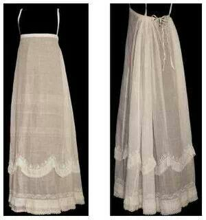 High waisted Regency petticoat with straps.