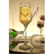 Ποτήρι σαμπάνιας γάμου ΚΑΡΔΙΑ Hand painted wedding champagne glass Heart