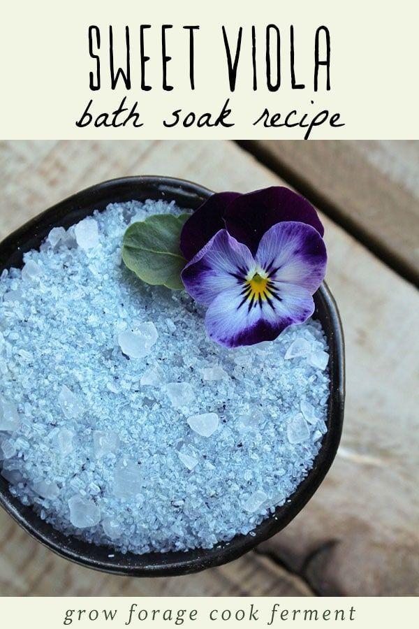 Sweet Viola Bath Soak Recipe In 2020 Edible Edible Flowers Bath Soak Recipe