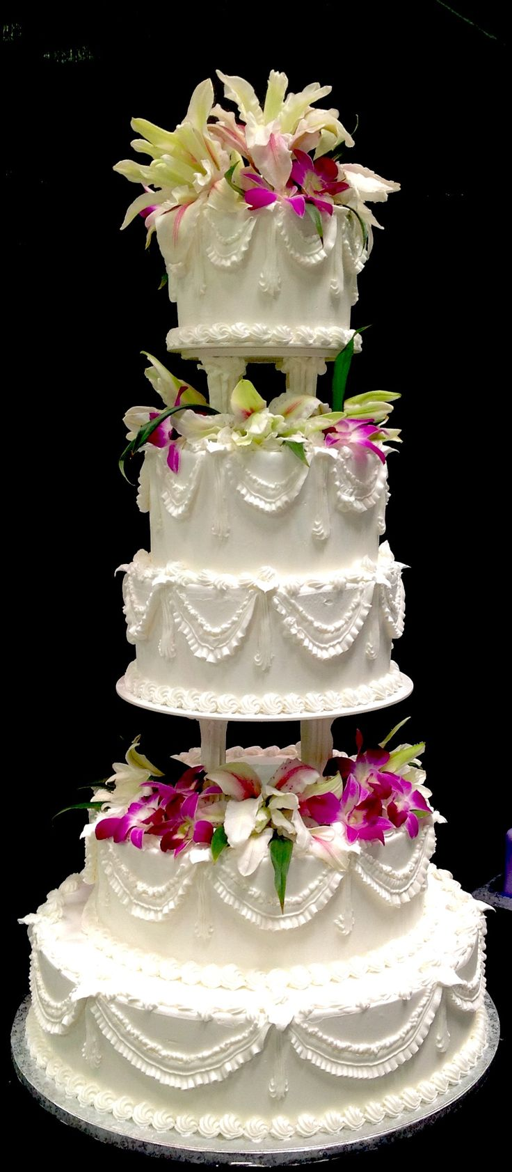 wedding cakes los angeles prices%0A   tier classic white buttercream wedding cake with fresh orchid accents  from fifth ave cakes in