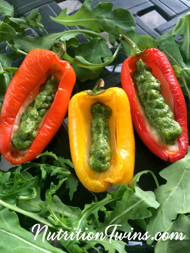 Stuffed Baby Peppers | Only 29 Calories | Cheesy & indulgent | Great appetizer or side dish, Arugula & Avocado Dipping Sauce |or Nutrition & Fitness Tips & RECIPES please SIGN UP for our FREE NEWSLETTER www.NutritionTwins.com