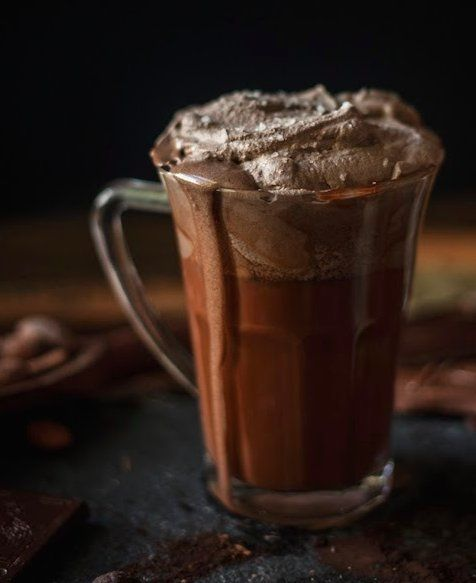Rich, decadent melted hot cocoa with sea salt whipped cream