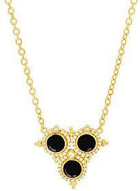 """Judith Ripka 20"""" Sterling & 14K Clad Faceted Black Spinel Necklace"""