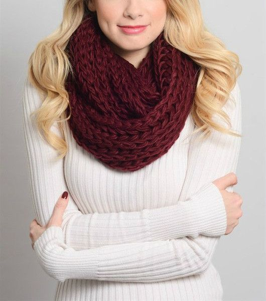 "Gorgeous braided Infinity Scarf in Burgundy. Measures 26"" x 12"". Acrylic."