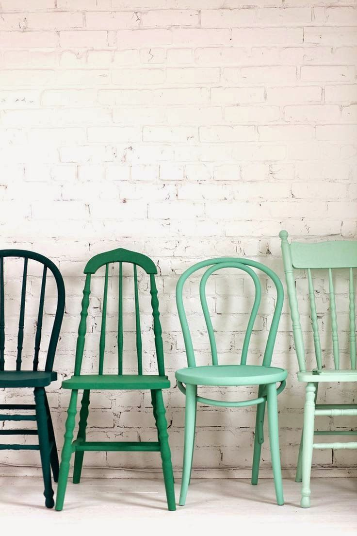 Colourful green vintage kitsch kitchen chairs