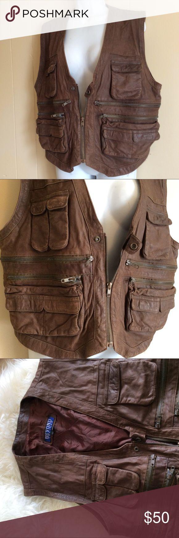 Size Large vintage leather utility vest cargo vest Size Large vintage leather cargo vest. Every pocket, zipper, etc functioning. Hipster hippie boho style. Jackets & Coats Vests
