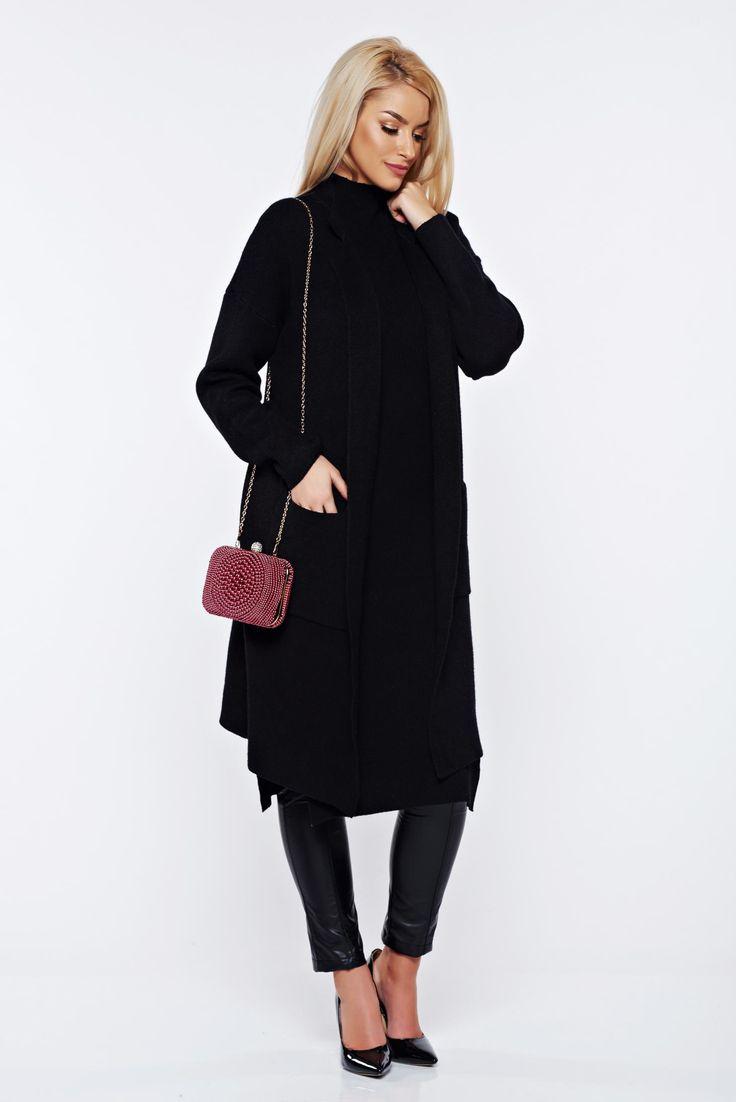 Black knitted asymmetrical cardigan with easy cut, women`s sweater, long sleeves, asymmetrical cut, easy cut, elastic fabric