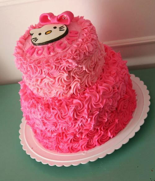 Kitty ombre buttercream and fondant cake I made this week.  Cake ...