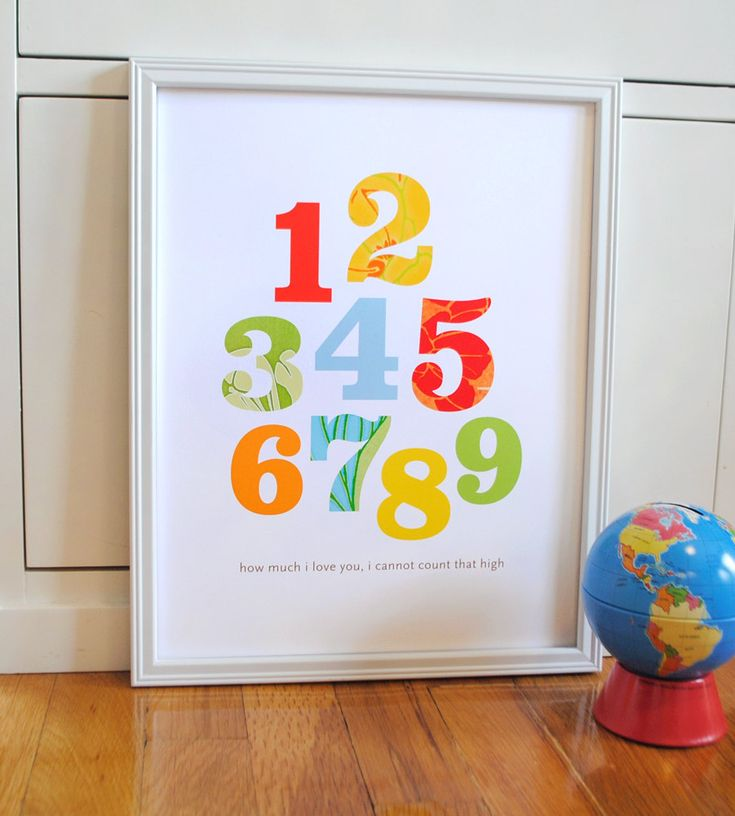 Patterned Numbers Print Primary Colors modern graphic nursery wall art poster - 8x10. $19.00, via Etsy.