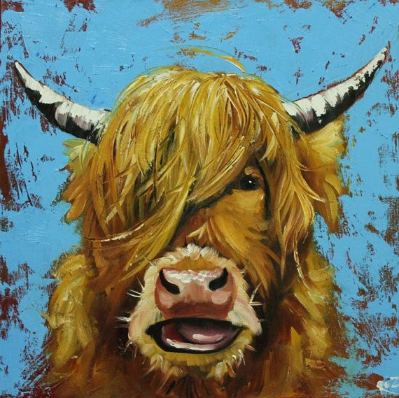 Cow painting 777 20x20 inch animal highland cow original by RozArt, $200.00