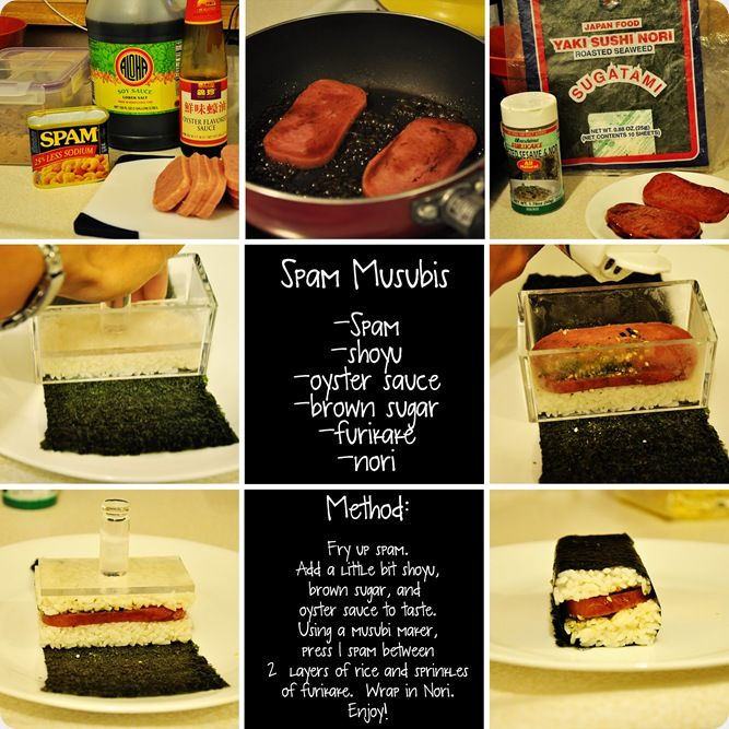 http://dahughesohana.blogspot.com/2010/10/i-heart-faces-dinner-recipe-spam.html  SPAM MUSUBI