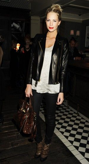 red lips, leather jacket, skinny trousers, boots, chic, Poppy Delevigne Style