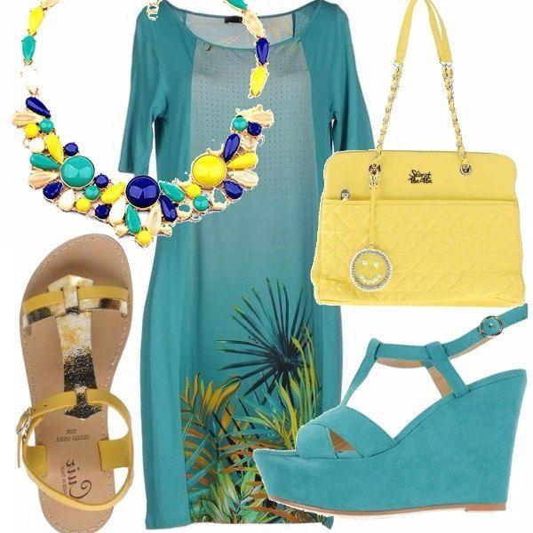 Per le serate d'estate, per essere carina con un abito leggermente tropical, abbinerei una collana statement come questa che vi indico, borsa gialla e per il tacco scegli tu: o un sandalo flat o la zeppa, c'è anche gialla se ti piace.