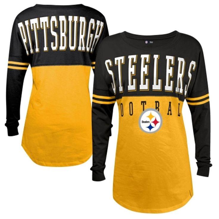 Women's Pittsburgh Steelers 5th & Ocean by New Era Gold Baby Jersey Spirit Top Long Sleeve T-Shirt