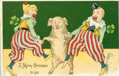 In the early 1900's, when the European picture postcard industry was booming, the happy pig (& even happier piglet) was the good luck symbol of the day.