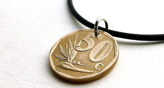 South Africa Coin necklace 1996 Flower necklace Bird of