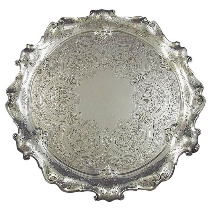 Victorian Sterling Silver Salver | From a unique collection of antique and modern platters and serveware at https://www.1stdibs.com/furniture/dining-entertaining/platters-serveware/