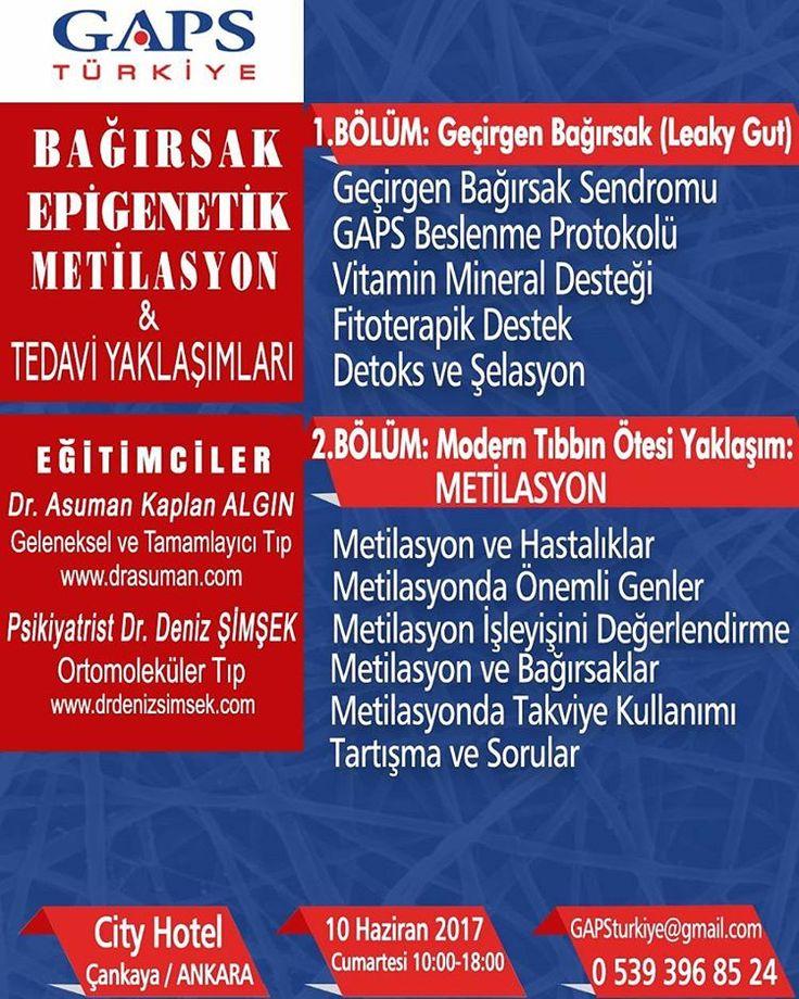 BAĞIRSAK, EPİGENETİK, METİLASYON & TEDAVİ YAKLAŞIMLARI  10 Haziran 2017, Ankara  Dr. Asuman KAPLAN ALGIN  Dr. Deniz ŞİMŞEK  #bağırsak #gut #epigenetik #epigenetic #metilasyon #metilation #geçirgenbagırsak #leakygut #tedavi #treatment #seminer #seminar #eğitim #education #course #drasuman #drasumankalplanalgın #drdenizsimsek #goncazeybek #psikiyatri #haziran #june #cityhotel  #ankara #Türkiye http://turkrazzi.com/ipost/1521062601029645724/?code=BUb5mBvgPWc