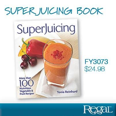 """SUPERJUICING BOOK  Over 100 delicious juicer and blender recipes plus tips on how to incorporate nutrient-rich """"superfoods"""" into our daily diet. Full colour photographs and nutritional information included. 240 pages, softcover. 9-1/2""""L x 7-3/4""""W"""