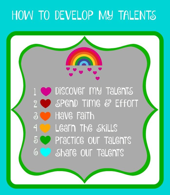 PRINTABLE from SUNSHINEANDMELODY.BLOGSPOT.COM How to develop God given talents.  Activity Days, Young Women, FHE, Family, Personal Developement