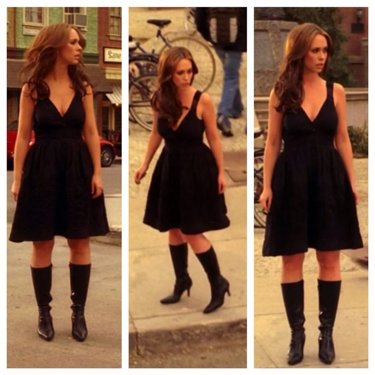 "Melinda Gordon's (Jennifer Love Hewitt) black dress and leather boots on Ghost Whisperer Season 2 Episode 21 ""The Prophet"""