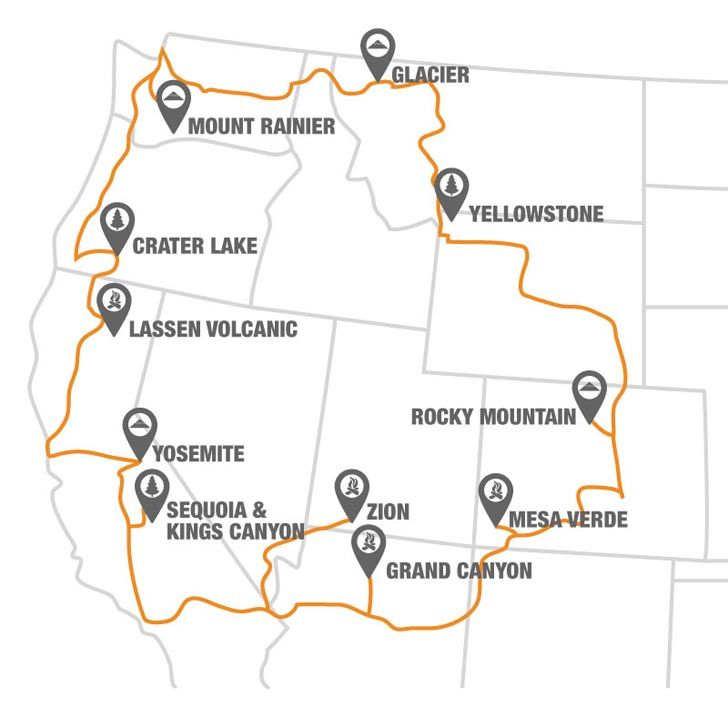 The National Park To Park Highway In The United States Park - Us national parks road trip map