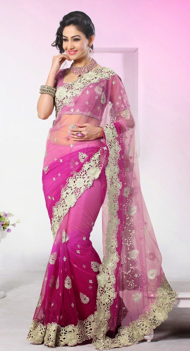 Enigmatic Magenta & Pale Magenta Embroidered #Saree